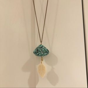 Turquoise and bone feather long necklace